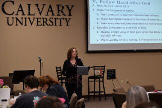 Julie Speaking at Calvary University Ladies Conference